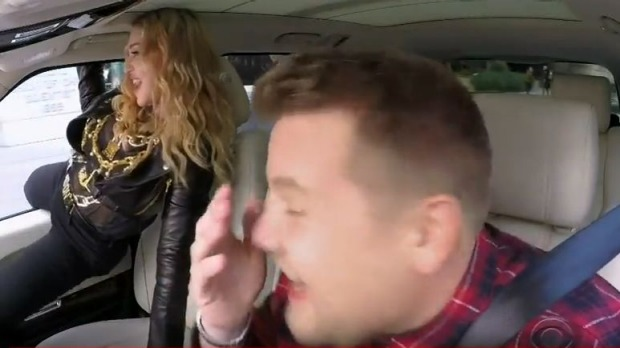 Watch Madonna Make the Most of a Front Seat in Carpool Karaoke