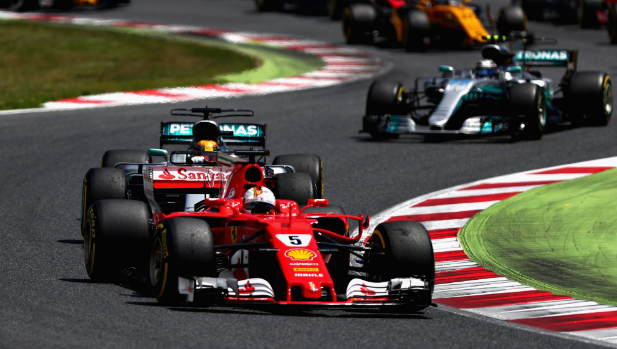 Hamilton wins in Spain with Vettel second, Bottas and Raikkonen drop out