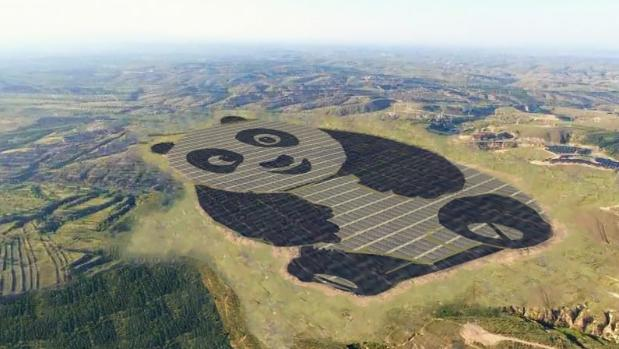 China builds panda-shaped power station