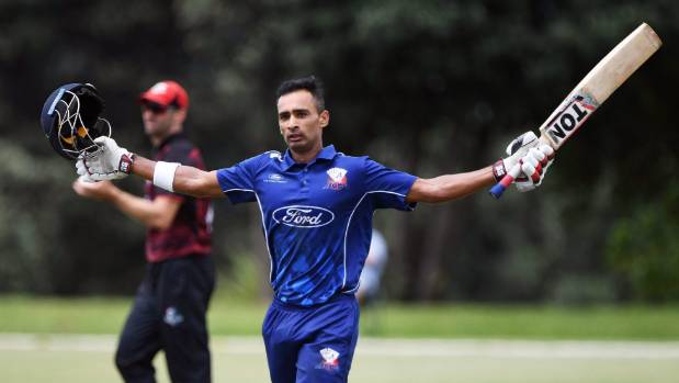 Ball sails for six off bowler's head in Ford Trophy elimination final