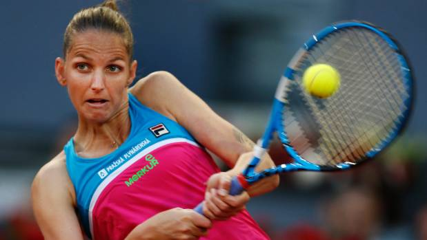 Tennis player Karolina Pliskova takes it out on umpire's chair