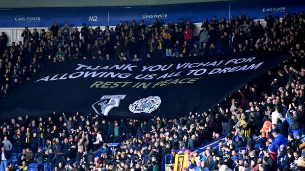 MICHAEL REGAN  GETTY       Watford fans display a banner in honour of Leicester City chairman Vichai Srivaddhanaprabha