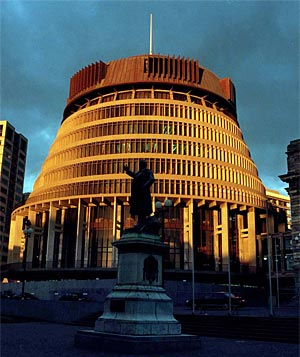 This is the Beehive in Wellington, not the big Beehive in the sky